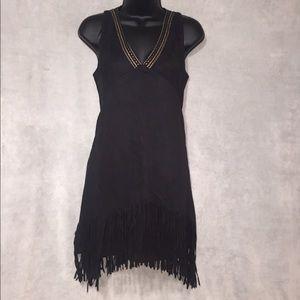 NWT Solitaire Faux Suede Fringe Dress